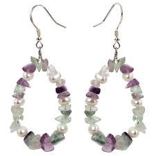 Pearl Fluorite Sterling Silver Drop Dangle Earrings Jewelry Gifts Women Mom Her