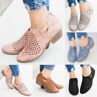 Women's Casual Hollow Out Shoes Ankle Low Mid Block Chunky Boots Zipper Summer