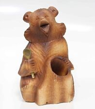 Russian carved wood figures Bear Pen Pencil Holder Handmade #57