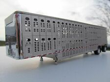 DCP 1/64 SCALE WILSON LIVESTOCK TRAILER SPREAD AXLE SILVER SIDES & FRAME