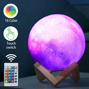 16 Colour Moon Galaxy Lamp USB Night Light Kids Dimmable LED 3D + Remote Control