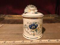 "Crown Devon Small Jar w/ Lid Blue Floral & Gold Trim 3 5/8""x2 1/2"""