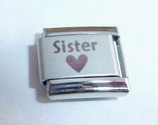Hermana Corazón Negro encanto italiano-me encanta mi SIS se adapta Classic pulseras de arranque