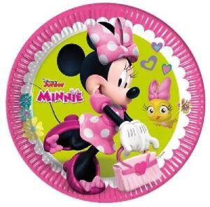 Disney Minnie Mouse Junior Paper Plates 8pcs 23cm Girls Kids Party Tableware