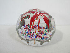 Glass Paperweight Red Flower Faceted Vintage Beautiful Colors