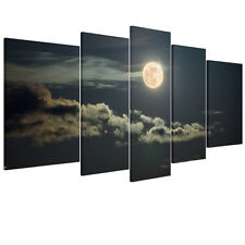 Modern READY TO HANG Framed Canvas Print Wall Art Picture Hanging Moon Sky Night