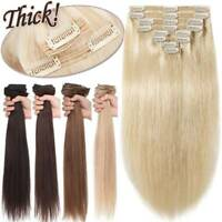 Extra THICK Double Weft Clip In Remy 100% Human Hair Extensions Full Head 170G+