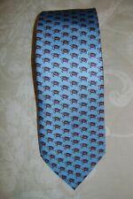 New Macclesfield 100% silk twill rich light blue tie with gold turtles