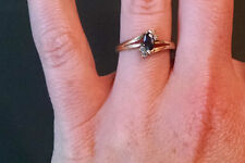 10K Gold Marquise Sapphire and Diamond Ring - Size 5 1/2