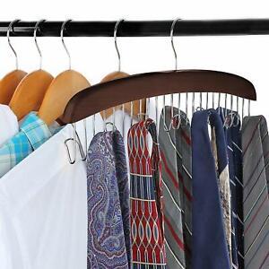 12 Hook Wooden Belt Hanger Tie Scarf Holder Closet Organizer Rack Hanger
