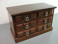 "WOOD WOODEN JEWELRY STORAGE MUSIC BOX CHEST 7"" TALL 4 PULL OUT DRAWERS VINTAGE"