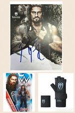 WWE ROMAN REIGNS OFICIAL FIRMADO CARTEL FOTOS & GUANTE SET & FIGURA DE LUCHA WWF