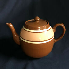 Lindley & Bloore Alcock Brown Teapot with Lid No Mark 4 Cup Tan Band