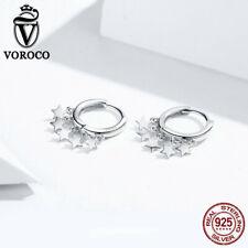 Voroco S925 Sterling Silver Stud Earrings Sky Stars Charm CZ For Women Jewelry