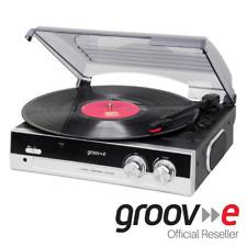 GROOV-E VINTAGE VINYL RECORD PLAYER WITH BUILT IN SPEAKERS - BLACK - GVTT01BK