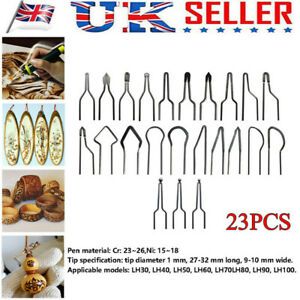 23pc 1mm Pyrography Machine Wire Nib Tips For 30-50W Adjustable Wood Burning Set