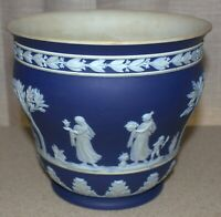"Antique WEDGWOOD Large Planter Cache Pot Jasper Cobalt Blue Rare 6.25"" High Vase"