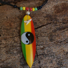 SHARK TOOTH BLACK BEADED NECKLACE SURF BOARD YING YANG RUSTA SURFING  csb30