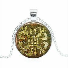 Tintern Abbey Medieval Floor Tile  Cabochon Glass Silver Chain Pendant Necklace