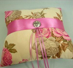 Rose Pink Satin & Tan Floral Print Cotton Wedding Ring Bearer Pillow, Handmade