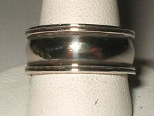 Vtg Sterling Silver 18K Gold Plated Wedding 8mm Double Rail Band  Sz7.25
