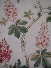 "SANDERSON CURTAIN FABRIC DESIGN ""Chestnut Tree"" 2.5 METRES CORAL/BAYLEAF"