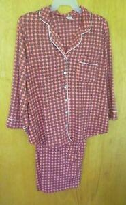 New Women's 2X Orange Red pajama notch collar set   print