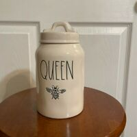 """Rae Dunn 'QUEEN BEE' Ceramic 8.5"""" Medium Canister with Thick Lid LL Farmhouse."""