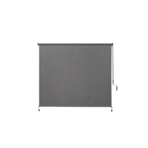 Pewter Cordless Light Filtering Fade Resistant Fabric Exterior Roller Shade