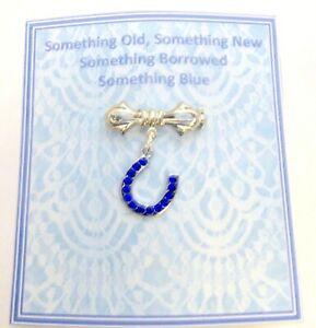 Something Blue Good Luck Horseshoe brooch for Bouquet/Garter +Gift Card & Bag