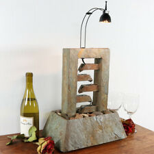 Sunnydaze Natural Slate Indoor Tabletop Fountain with LED Spotlight - 23-Inch