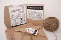 10 Pocketfold invitations   MODERN TYPOGRAPHY KRAFT & TWINE luxurious quality ca