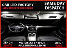 VW Passat B7 2012+ interior completo juego de actualización de LED 13 Bombillas De Repuesto Blanco
