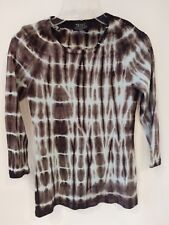 TIE DYE TRYST Brown Graphic PrintLong SleeveTop S 100% Cotton New