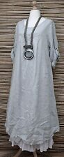LAGENLOOK OVERSIZED LINEN ASYMMETRICAL A-LINE DRESS**LIGHT GREY**BUST UP TO 50""