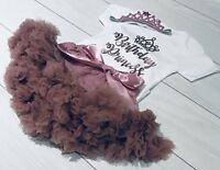 Girls 1st First Birthday Tutu Skirt Outfit Rose Gold Dusky Pink Cake Smash Set