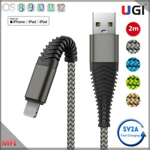 MFI certified 2M Hi-Tensile IOS Cable For iPhone 11 12 2A Fast Charge Data Cable