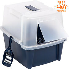 Cat Litter Box Large With Scoop Pan Grate Toilet for Kitty Easy To Clean Sandbox
