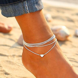 Silver Heart Ankle Bracelet Multi Layer Womens Anklet Adjustable Chain Beach UK