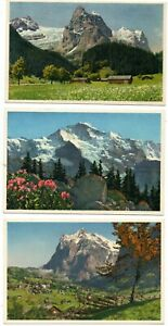 POSTCARDS – 5 OLD COLOUR POSTCARDS OF SWISS MOUNTAINS UNPOSTED