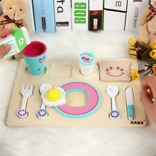Wooden Breakfast Toys Cereal Toast Kitchen Food Tray Childrens Playset Toy C