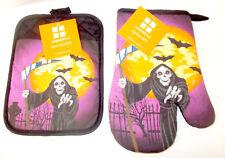 Grim Reaper Purple Black Oven Mitt Pot Holder Halloween Kitchen Decor NWT