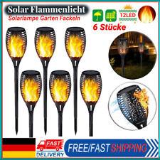 6X Solarleuchte LED Garten Beleuchtung Solar Licht Lampe Fackel Leuchte Flamme