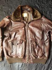 Jeffrey Banks For Lakeland, Mens Leather Bomber Style Brown Jacket Size 50 Large