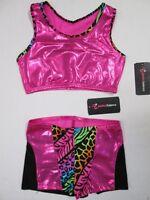 NEW Size MC 8-10 Child Crop Bra Top Shorts Set Lot of 2 Dance Gymnastics Leotard