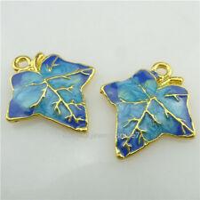 (18303-2X) Golden Enamel Alloy Blue Leaf Plant 21mm Maple Pendant Cloisonne