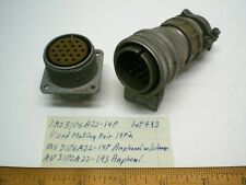 1 Ms3106a22 14p Military Connector Mating Pair Size 22 Amphenol Lot 483 Made Usa