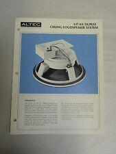 Vintage Original Altec 617-8A Duplex Ceiling Speaker Specification Sheet (A3)