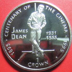 1996 GIBRALTAR 1 CROWN SILVER PROOF JAMES DEAN ACTOR CINEMA CENTENARY RARE COIN!