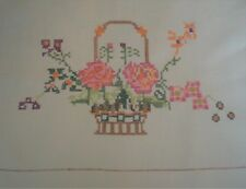"""Table Cloth Hand Embroidered with Baskets of Flowers, White 47"""" x 47"""""""
